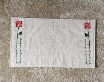 Arts and Crafts Style Embroidered Linen