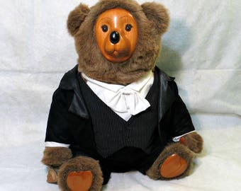 Rare Robert Raikes Tyrone Bear Hand Carved Wood Face & Paws Large Brown Mohair Body Dapper Black Tux 1986 Limited Edition FREE SHIPPING