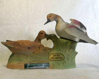 Jim Beam Ducks Unlimited Decanter Collection Kentucky Straight Bourbon Whiskey Gadwall Duck Pair Ducklings Waterfowl 1988 Empty Decanter
