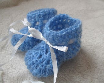 Blue baby booties 0-3 month baby