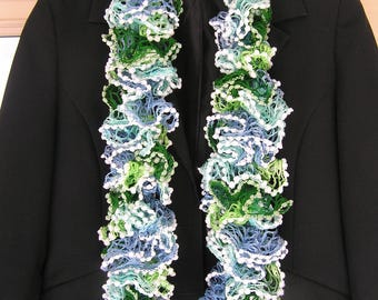 Green and blue scarf with white PomPoms, mothers day gift