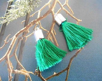 x 2 tassel pendants charms silver and green.