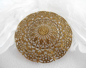 x 1 round filigree engraving bronze metal.