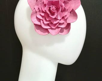 Big Leather Headpiece - Pink Camellia