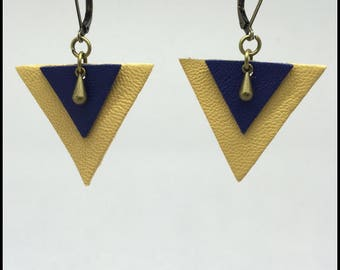 Soft leather, Brown and Navy blue triangle earrings
