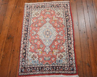 Vintage Persian Sarouk Rug, 2'x3'3'', Red/Blue, All wool pile