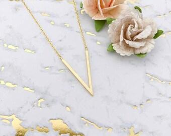 Gold V Dainty Necklace