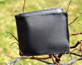Black faux leather wallet - handmade