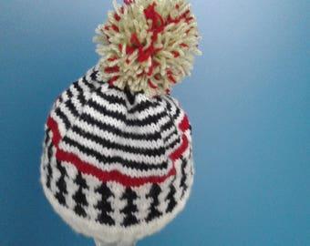 Red black white child Hat