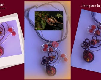 Pendant on a cotton/organza cord - orange, Brown and silver *.