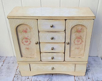 Jewellery Box/ Armoire/ Wardrobe in Pale Floral Design