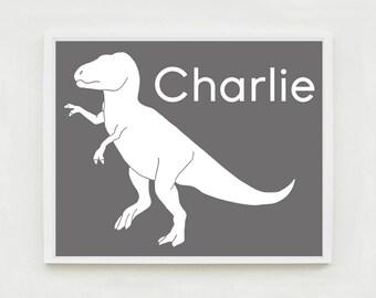 Personalized Dinosaur Art, Nursery Art, T Rex, Tyrannosaurus Rex, Dinosaur Nursery Art, Kids Wall Art Print, Kids Dinosaur Bedroom, Decor