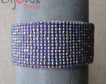 Lavender silver leather Cuff Bracelet