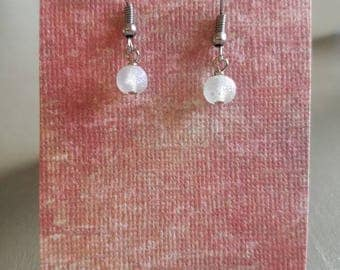 Frosted clear beansy drop earrings