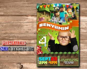 Mine Themed Invitation,Mine Themed Birthday,Mine Themed Birthday Invitation,Mine Themed party,Mine Themed Birthday Party-SL146