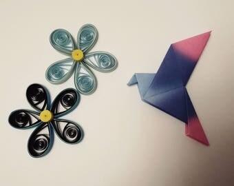 4 handmade origami colorful birds
