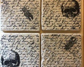 Skull and Bug Travertine Coasters