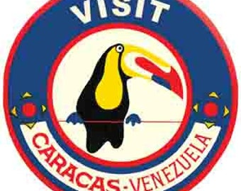 Vintage Style Caracas Venezuela South America  Travel Decal sticker