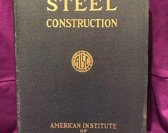 1942 AISC Steel Construction Book 4th ed Near Fine Engineering Architecture Building Construction