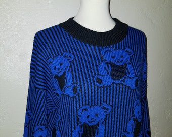 Vintage 80s Blue/Black Teddy Bear Knit Sweater Stripe ~ ADELE Made in USA ~ Indie ~ Oversized Medium