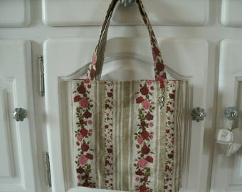 floral printed linen and Red linen tote bag