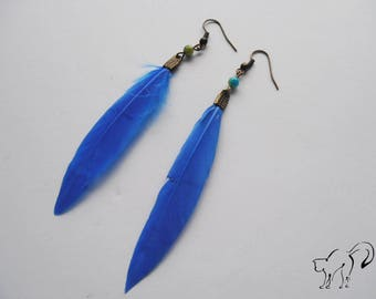 Bronze feather earrings and Blue Pearl
