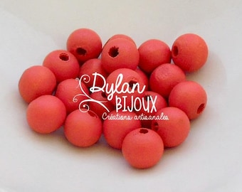 20 wooden ⌀ Red 10 mm beads