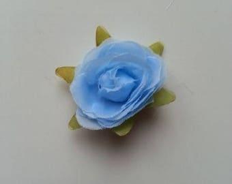 rose en tissu bleu 40mm