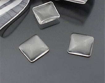4 20 mm x 20 mm square shaped glass cabochons