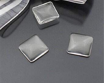 2 20 mm x 20 mm square shaped glass cabochon