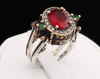 Extraordinary Ring! Two in a One Ring Reversible Ottoman Style Oval Cut Emerald Ruby Jade and White Shiny Topaz 2 Band Women Ring All Sizes