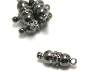 4 clasps magnetic magnetic pattern n ° 1: 17 x 6 mm, gun metal