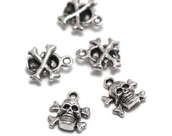 """death's head"" 10 charms, 14 x 13 x 5 mm, silver, 007 has"