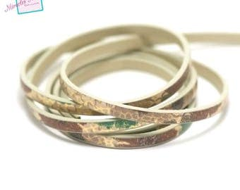 """1 m strap leather 5 x 2 mm """"Garden"""", pink green yellow"""
