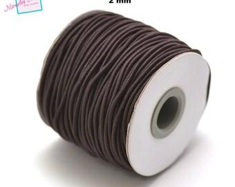 5 meters of woven elastic thread (2 mm), Brown