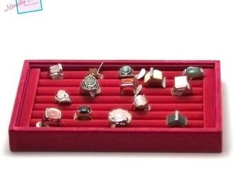 Display trays for ring 23 x 14, 5 x 3 cm, red velvet