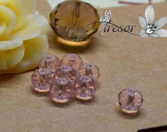 Set of 10 beads, glass, Crystal, rondelle, faceted, luster, 6x4mm rondelle