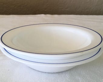 "Vintage Arcorpal 6"" bowls with blue stripe"