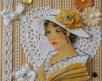 Map postcard 3D woman in Hat floral on yellow and white stripes background ideal for a birthday