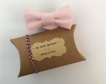 Kid bow tie in pale pink cotton adjustable / bow tie