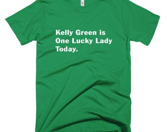 Lucky Irish Lady Kelly Green T-Shirt st patricks day parade pub crawl green ireland shamrocks leprechauns drinking guinness stout beer