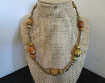Light Brown & Dark Green Beaded  Necklace