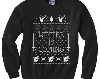 Winter Is Coming Christmas Sweater | Winter Is Coming Ugly | Game Of Thrones Sweater | Jon Snow Ugly Christmas Sweater | GOT Christmas |