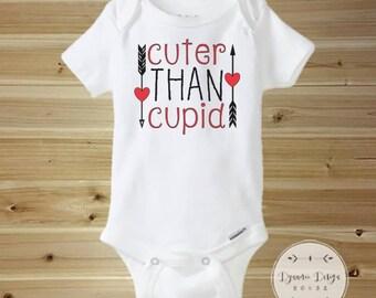 Valentines Day Onesie, Cute Valentines Day Onesie, Cuter Than Cupid, 1st Valentines Day, First Valentines Day, Cupid Onesie, Funny Onesie
