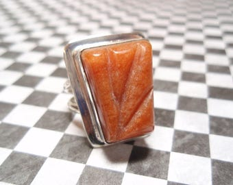 Carved Red Aventurine Gemstone Sterling Silver Ring Size 9