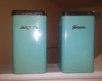 Kenmore Mid Century flour and sugar canisters