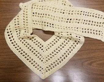 Hand crocheted Ecru V scarf