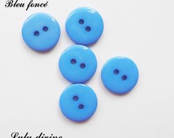 Set of 5 buttons round 15 mm 2-hole: dark blue