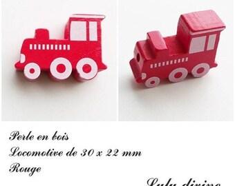 30 x 22 mm wood bead, Pearl flat Train / Locomotive: Red