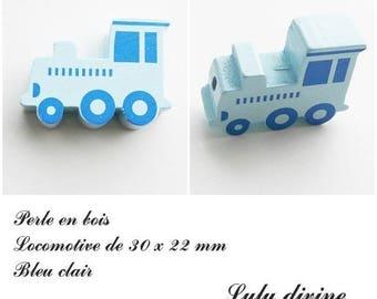 30 x 22 mm wood bead, Pearl flat Train / Locomotive: light blue